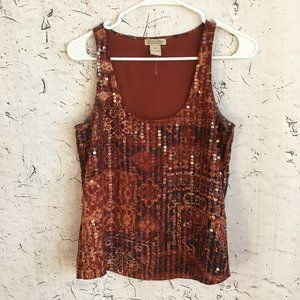 LUCKY BRAND RED SEQUIN TOP XS